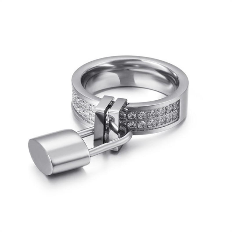 Padlock Stainless Steel Cubic Zircon Ring For Women