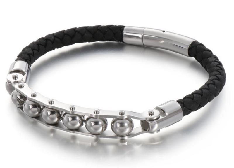 Steel Biker Leather Bracelet Bangle for Men