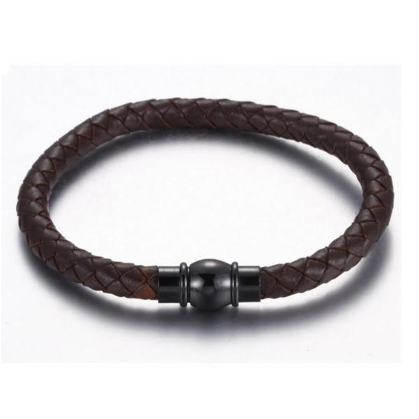 Men's Genuine Braid Leather Bangle with Stainless Steel Magnetic Clasp