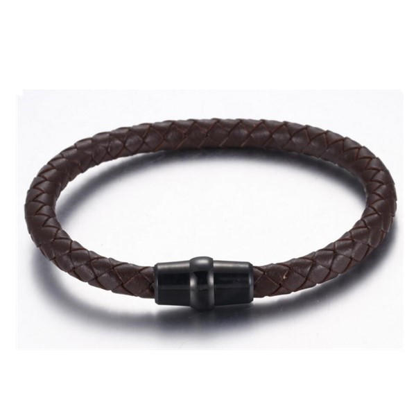 Men's and Women's Black Blue White Cowhide Leather Bracelet with Stainless Steel Clasp