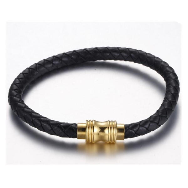 Gold Stainless Steel Clasp Men's Black Red Cow Leather Bracelet