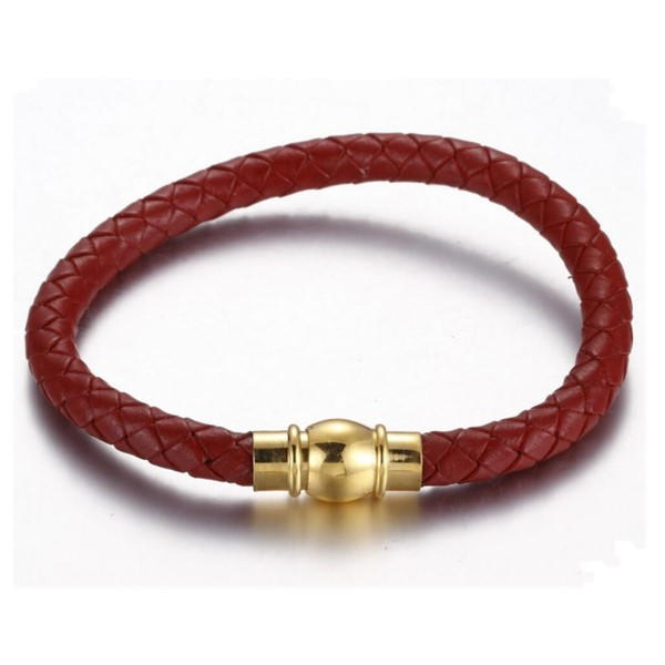 Simple Braid Leather Bracelet for Men Couple With Magnetic Clasp