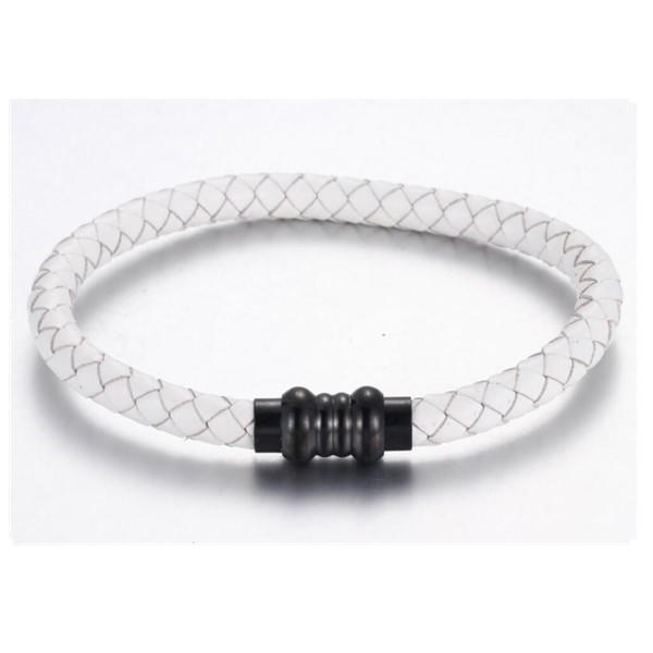 Black Brown White Blue Genuine Men's Jewelry Leather Bangle