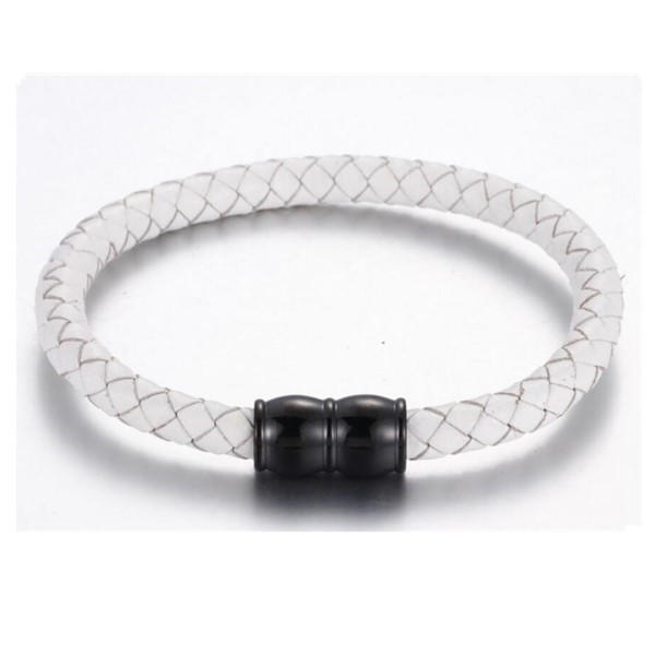 Factory Wholesale Leather Bangle with Stainless Steel Magnetic Clasp