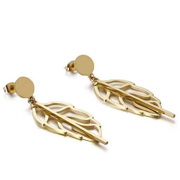 Hollow Leaf Shape Pendant Charms Women Stud Earrings