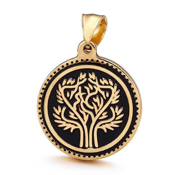 Men's Unisex Pendant Stainless Steel 18k Gold Plating Tree Charm