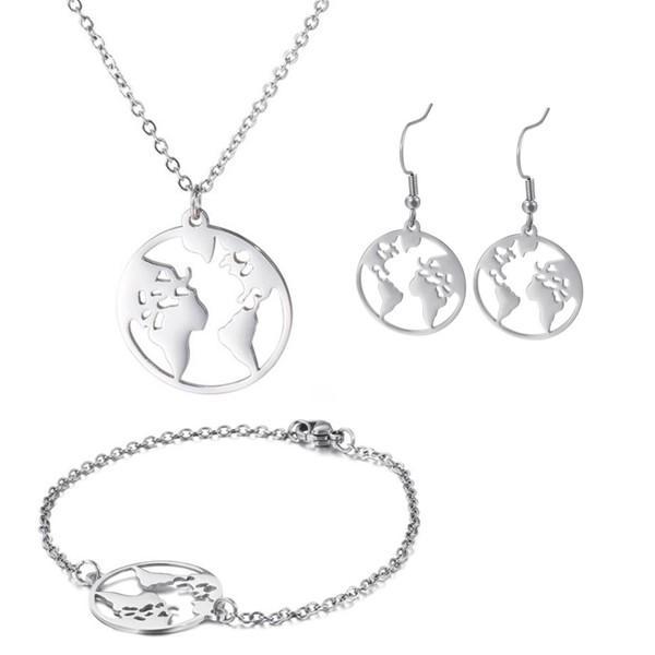 World Map Bracelet Necklace Earrings Jewelry Set Stainless Steel