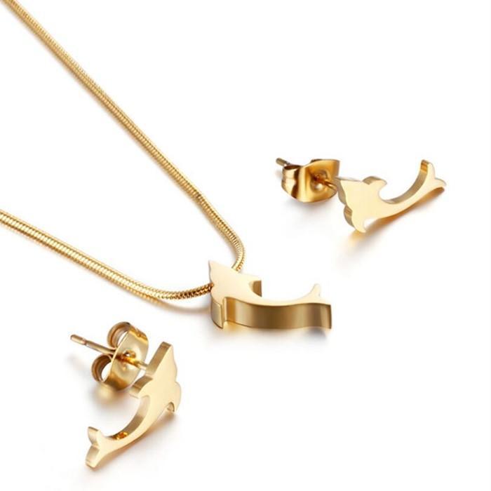 Stainless Steel Women Jewelry Set Fish Shape Earrings Necklace