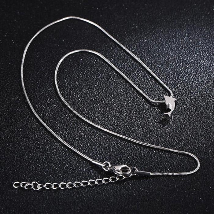 JaneE brushed surface stainless steel chain necklace mens different dimension for gift