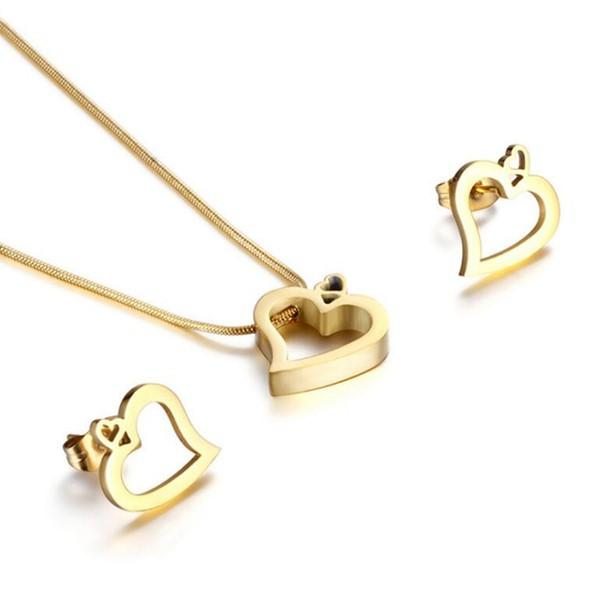 Heart Earrings and Necklace Minimalist Jewelry Set for Women