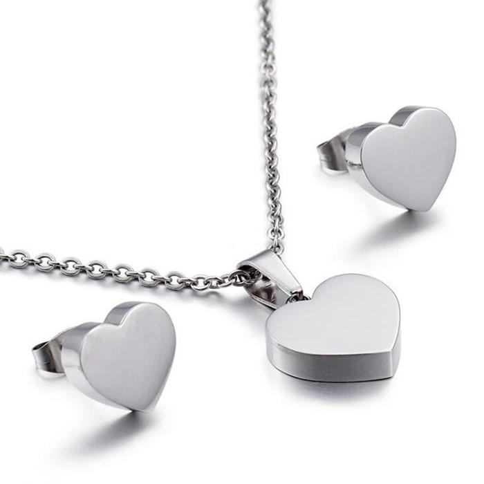 Surgical Stainless Steel Heart Shape Earrings and Necklaces  Minimalist Jewelry Set