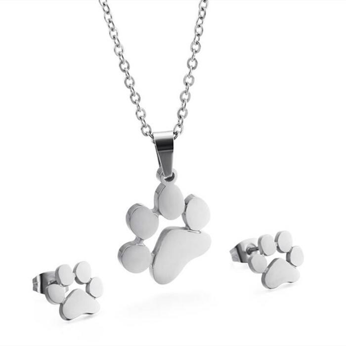 Dog Puppy Claw Shape Stub Earrings and Necklace Women Jewelry Set