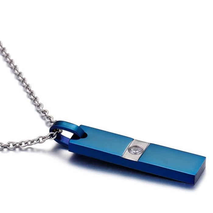 316L mens stainless steel pendant Dog Tag Blue Pendant with Cubic Zircon Stone