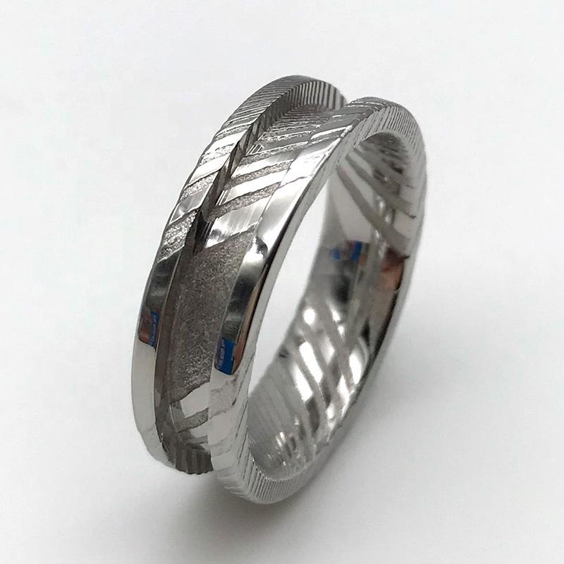 DIY Inlay Wood Opal Stones Damascus Steel Ring Core Blank