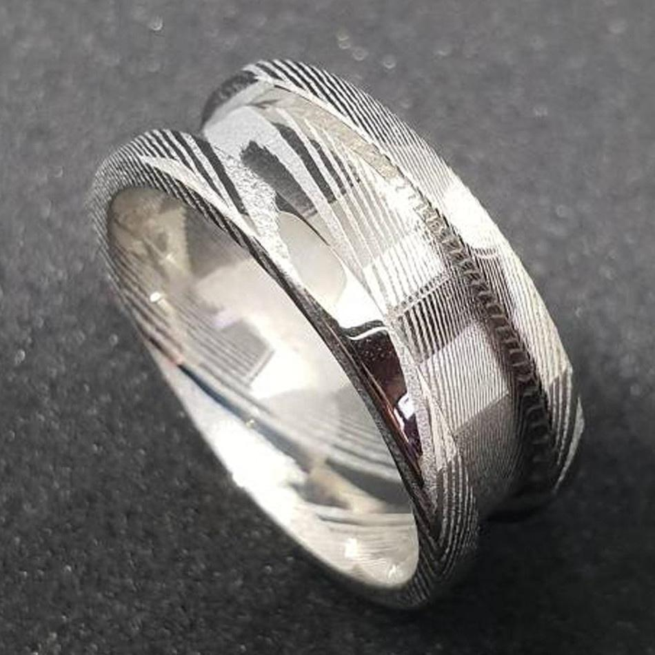 silver damascus steel ring with wood inlay PVD/Ion plating factory direct for engagement