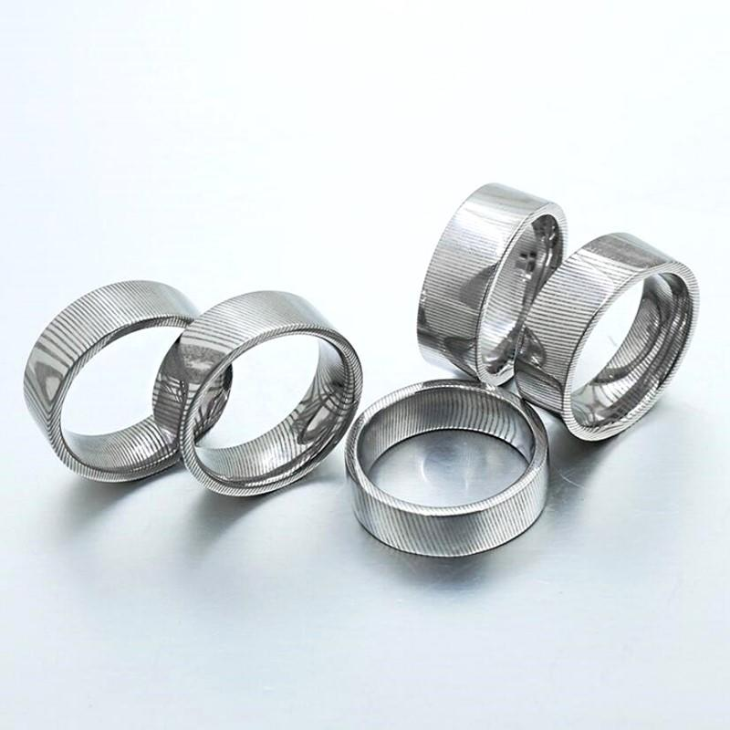 China Factory Customize Damascus Steel Plain Ring for DIY Inlay Wood Opal