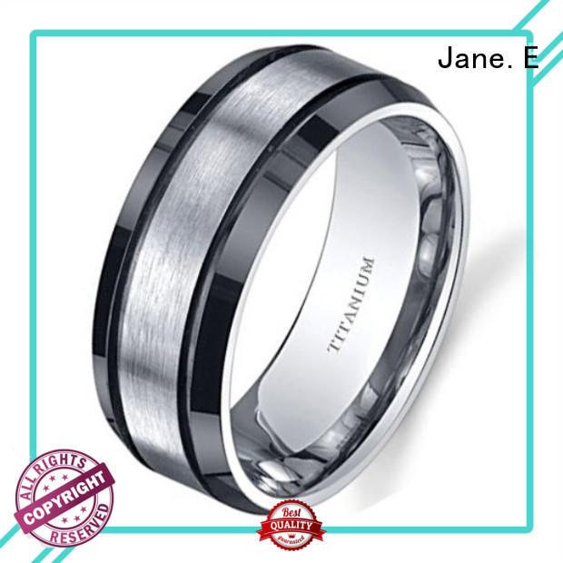 sparkle sandblasting black titanium ring polished edge modern design for wedding