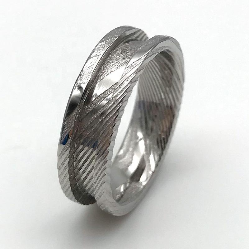 JaneE watery or wavy patterns damascus steel ring factory direct for wedding-2