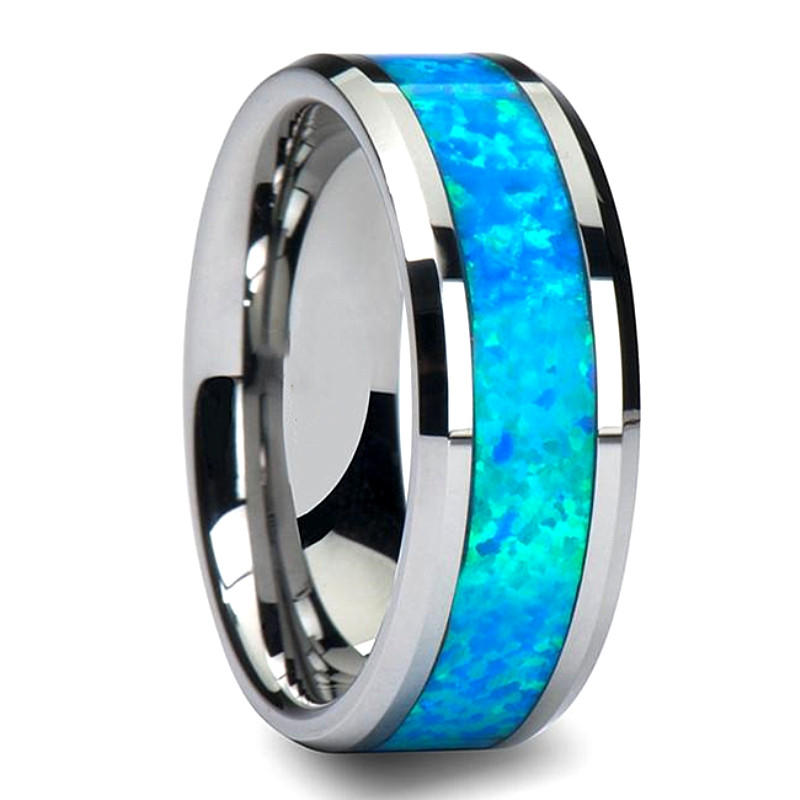 JaneE red opal blue tungsten ring exquisite for wedding-2