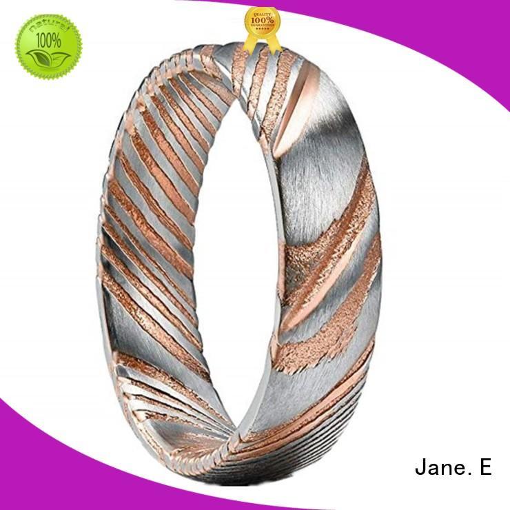 wood veneer inlay damascus steel wedding band mens wholesale for engagement JaneE