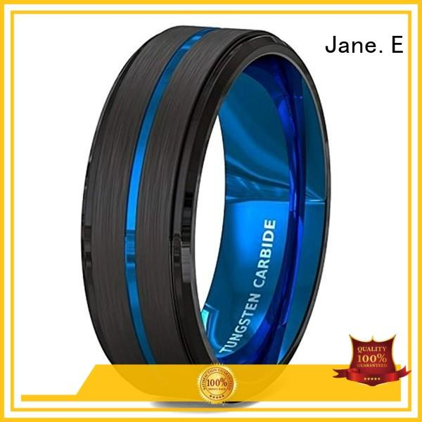 JaneE meteorite black tungsten carbide rings exquisite for gift