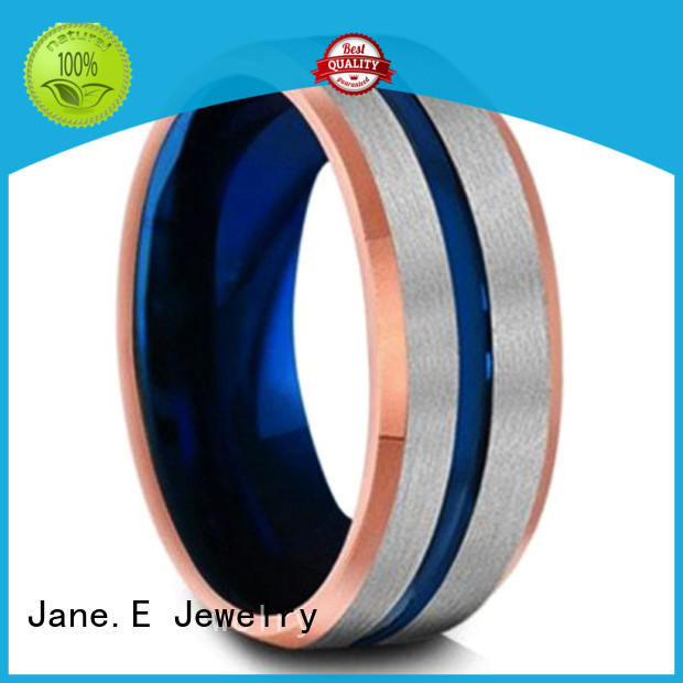 JaneE damascus texture tungsten carbide engagement rings exquisite for wedding