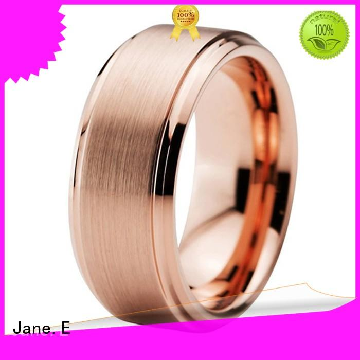 JaneE red opal blue tungsten wedding bands engraved for wedding