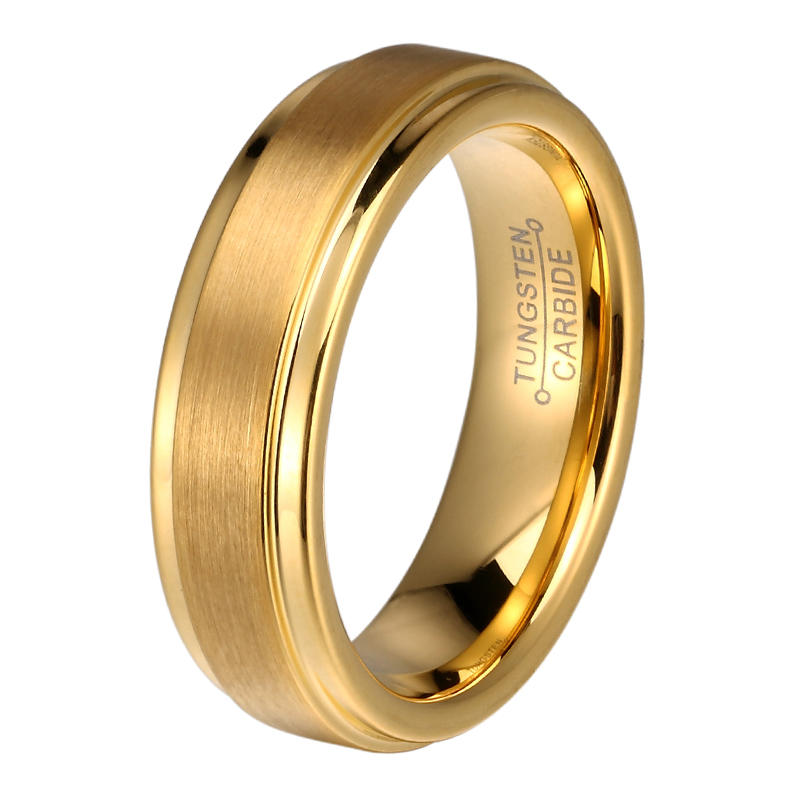 JaneE damascus texture tungsten carbide gold ring exquisite for gift-3