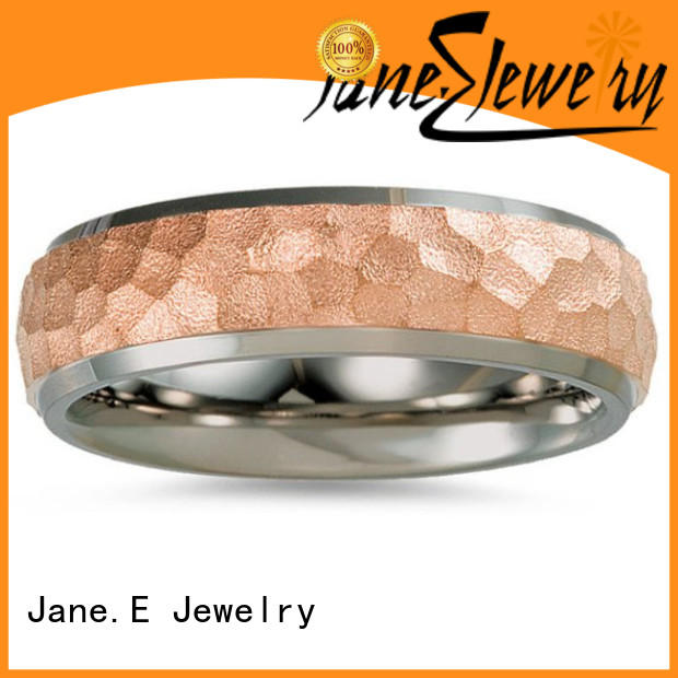 JaneE inlay brushed titanium wedding ring factory direct for anniversary