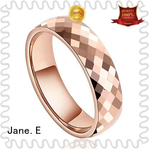 JaneE damascus texture tungsten carbide mens wedding ring matt for wedding
