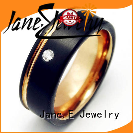 JaneE unique design custom tungsten carbide wedding bands inlay brushed for engagement