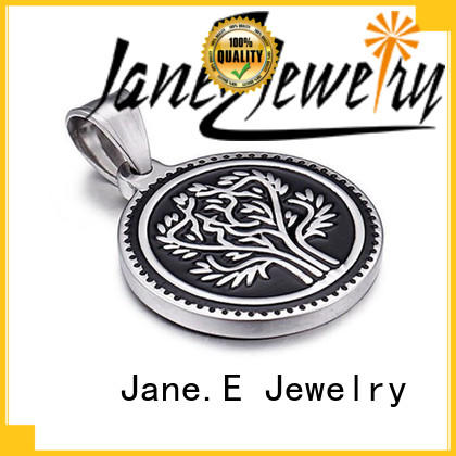 JaneE rose gold stainless steel engravable pendants leather chain for men
