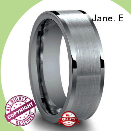 JaneE two tones matching tungsten wedding bands engraved for gift