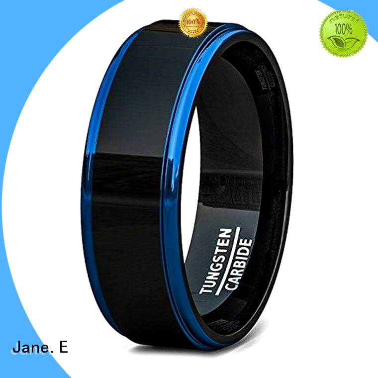 JaneE koa wood black tungsten rings exquisite for engagement