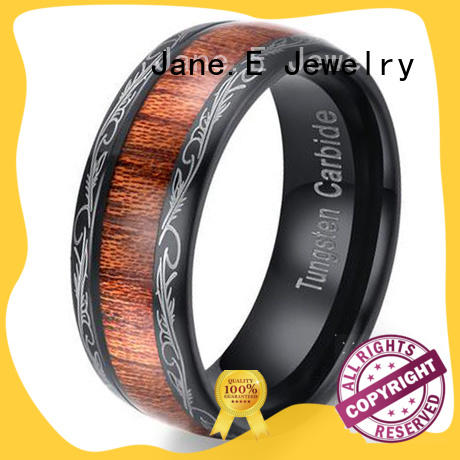 JaneE red opal tungsten carbide wedding bands engraved for gift