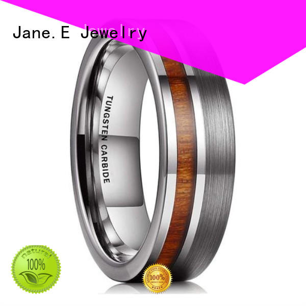 JaneE unique design wood inlay wedding band exquisite for engagement