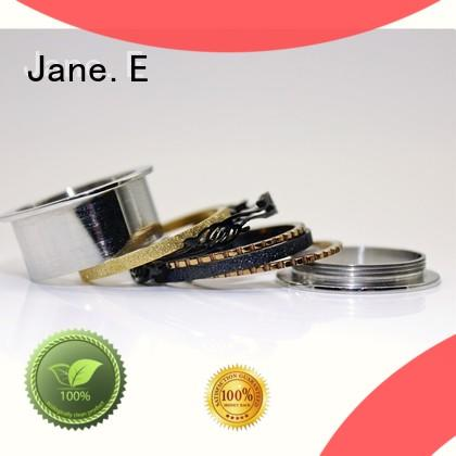 JaneE square edges stainless steel promise rings for her top quality for decoration