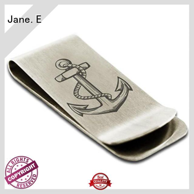 JaneE deep etching stainless steel money clip adjustable for men's wallet