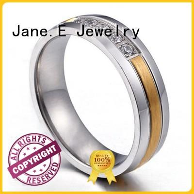 JaneE customized black steel wedding bands 18k gold for decoration