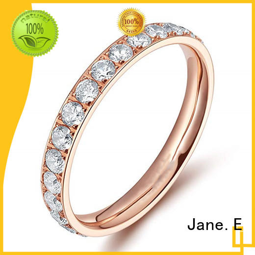 JaneE polished edge men's titanium wedding band modern design for anniversary