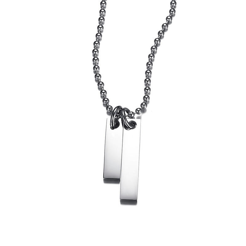 JaneE letter engraved mens stainless steel necklace different dimension for gift-3