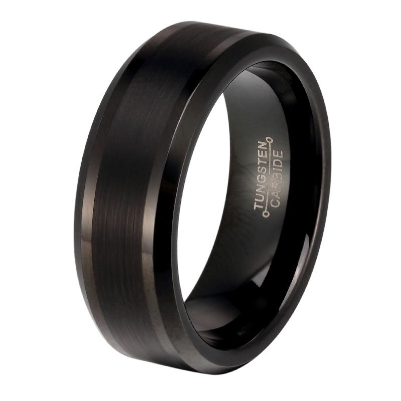 JaneE inlay brushed black tungsten rings engraved for wedding-1