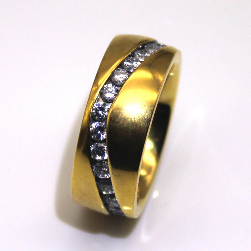 JaneE black hammered steel ring top quality for men-3