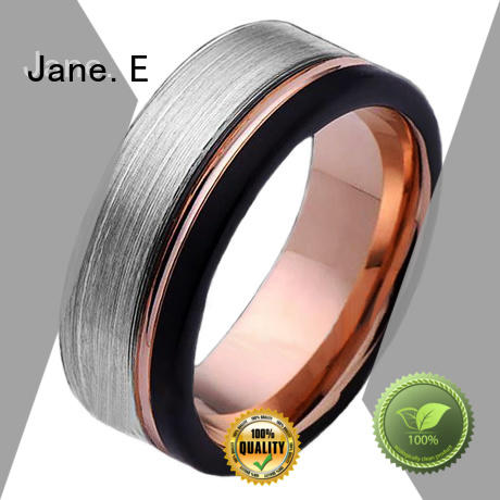 JaneE shiny polished 10mm mens wedding bands tungsten engraved for engagement