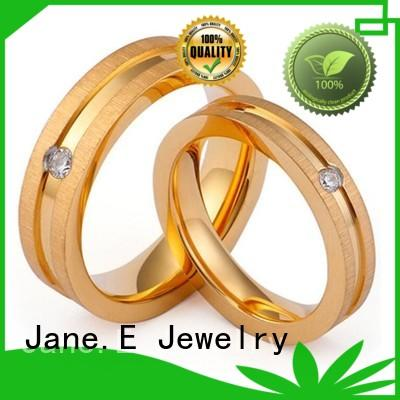 JaneE milgrain stainless steel promise rings for her comfortable for men