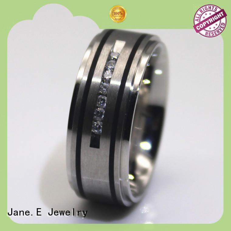 JaneE shiny black steel wedding bands comfortable for decoration