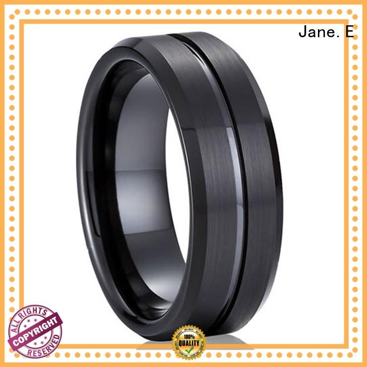 JaneE multi colors blue tungsten wedding bands matt for wedding