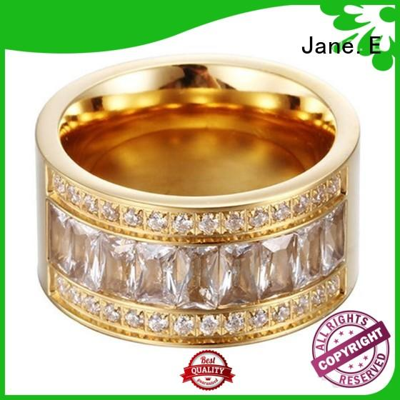 JaneE shiny steel ring comfortable for men