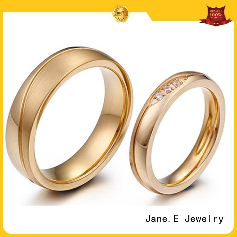 JaneE square edges steel wedding rings multi colors for men