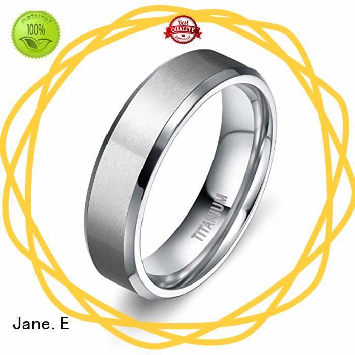 JaneE sparkle sandblasting titanium rings for women factory direct for anniversary